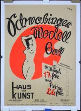Original Vintage 1950s German Munich Modern Art Ball Poster