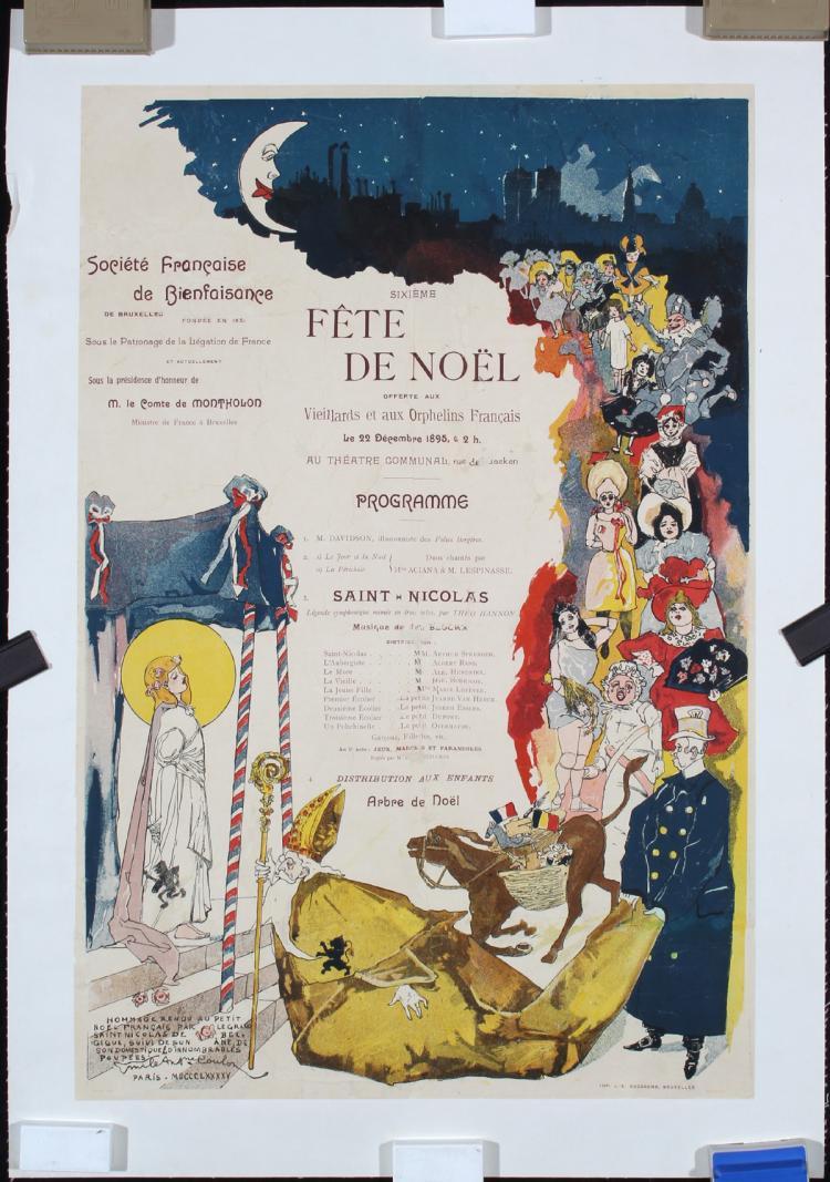Original Vintage 1890s Art Nouveau Christmas Theater Poster