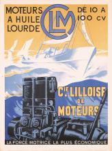 Old Original Vintage 1930s French Boat Engine Poster Plakat CLM