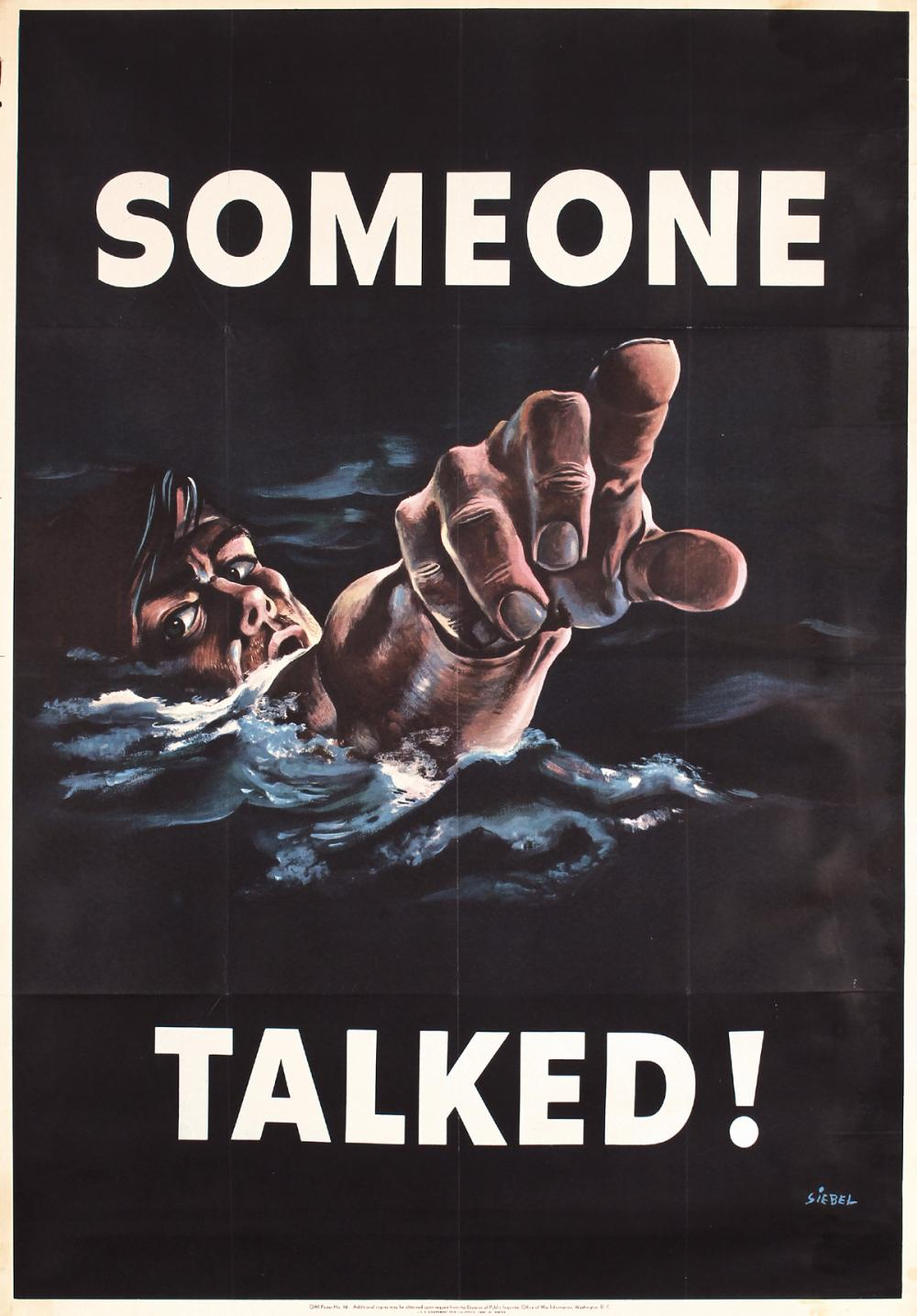 Original Vintage Us World War Ii Propaganda Poster Someone T