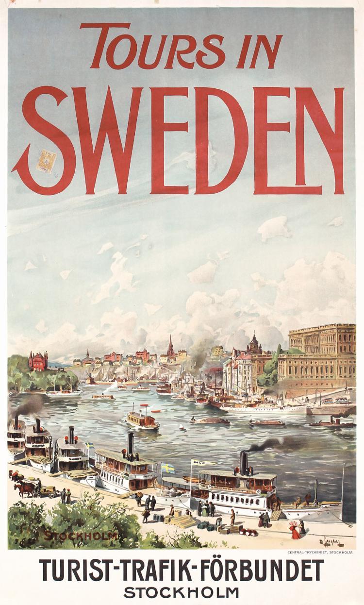 Rare Original 1900s Travel Poster Stockholm Sweden, Original Lithograph