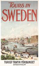 Rare Original 1900s Travel Poster Stockholm Sweden, Original Lithograph