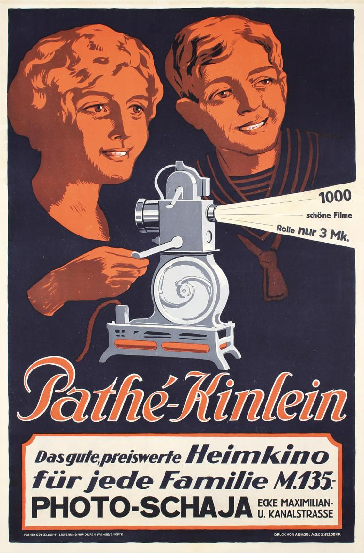 Rare Original 1920s Pathe-Kinlein Home Theater Poster