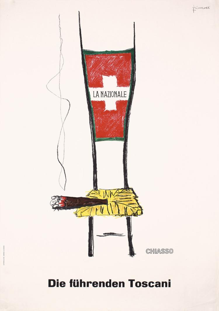 Old Original 1960s Nazionale Toscani Swiss Cigar Advertising Poster