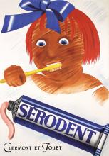 Original 1930s Swiss Design Serodent Toothpaste Poster with Little Girl
