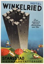 Original Vintage 1930s Swiss Travel Poster Stansstad Hotel