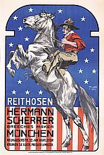 Original 1900s USA Cowboy Pants Advertising Poster Stars and Stripes