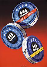 Original 1950s Swiss Art Design Advertising Poster GABA Candies