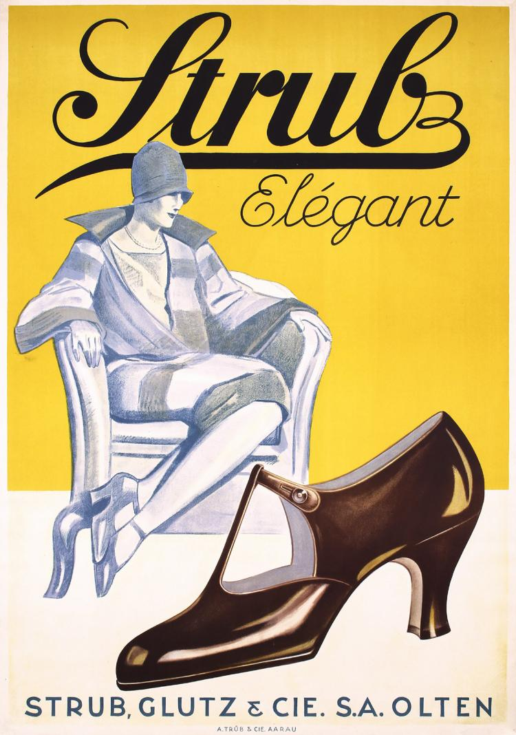 Original 1930s Swiss Strub Shoe Advertising Poster ART DECO