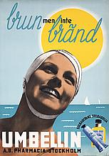 Cool Vintage 1930s Swedish Photomontage Sun Tan Lotion Poster
