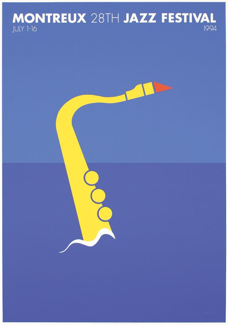 STUNNING Original Modern Montreux Jazz Poster Pakat ARNOLDI Art