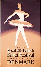 Original Vintage Danish Ballet Dance Travel Poster from the 1950s
