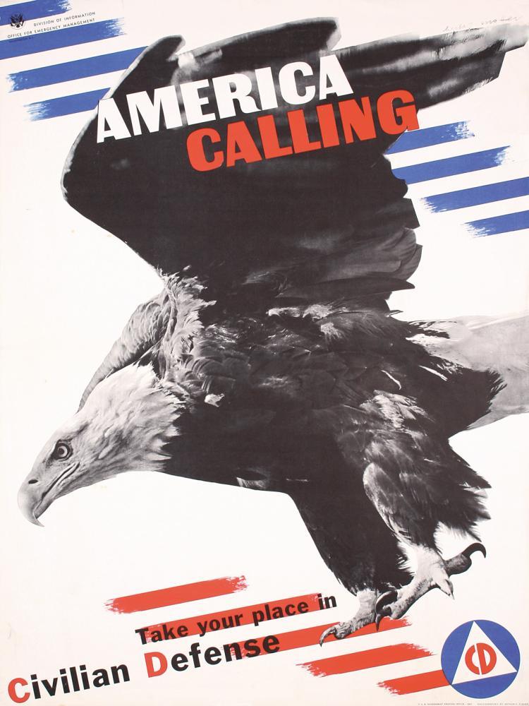 Original Vintage 1940s HERBERT MATTER Poster America Calling World War II