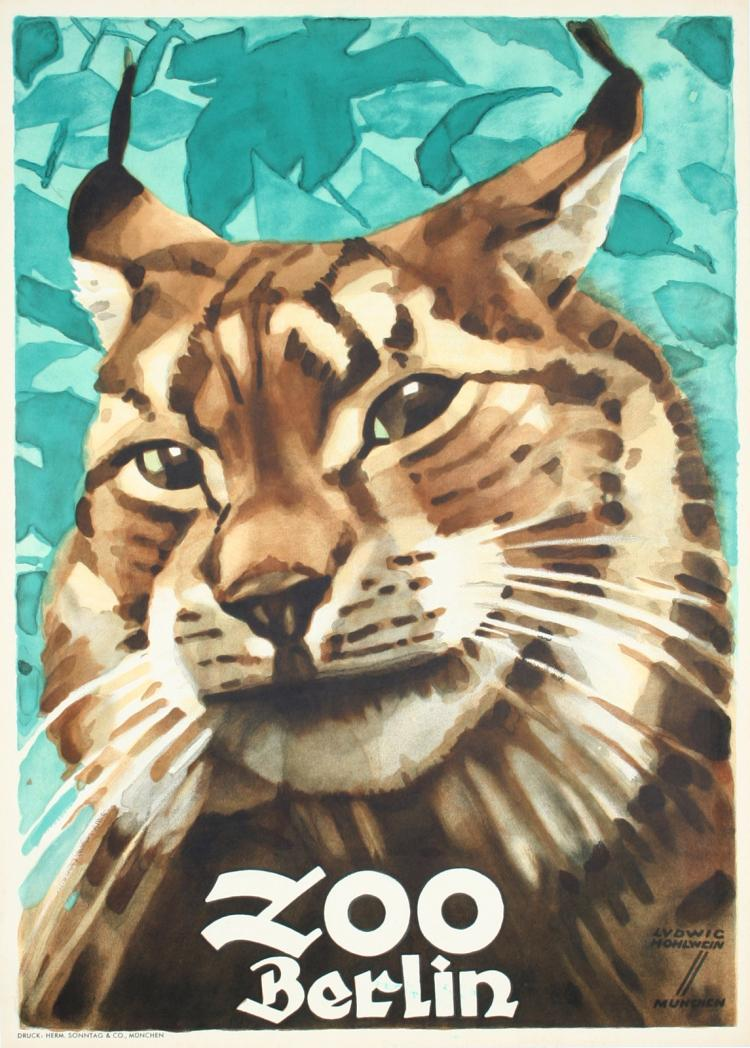 Original Vintage 1930s LUDWIG HOHLWEIN Berlin Zoo Cat Poster