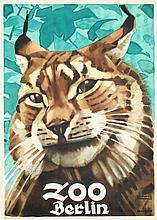 Original Vintage 1930s LUDWIG HOHLWEIN Berlin Zoo Cat Poster
