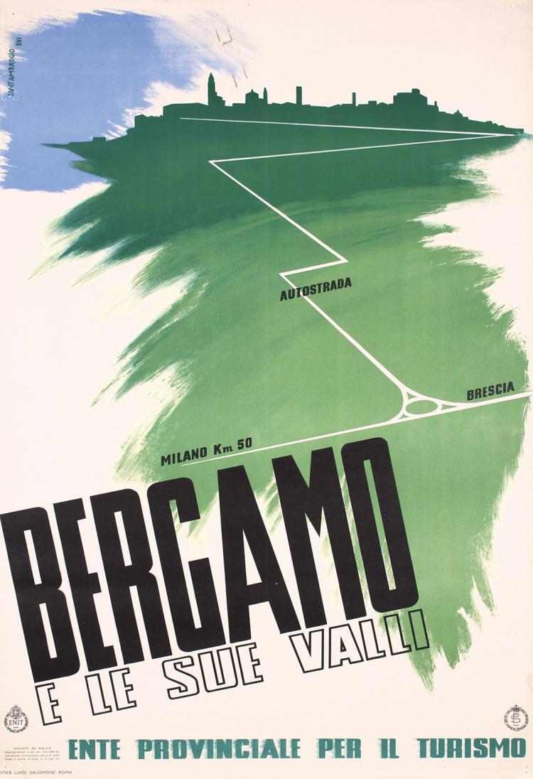 Original Vintage 1930s Italian Travel Poster Bergamo