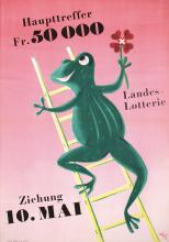 Great Original Vintage 1950s Swiss Lottery Poster Frog Climbing