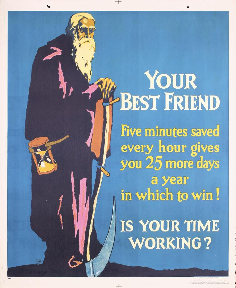 Original Vintage 1920s Chicago Mather Work Poster YOUR BEST FRIEND