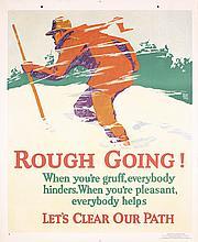 Original Vintage 1929 Chicago Mather Work Poster Rough Going