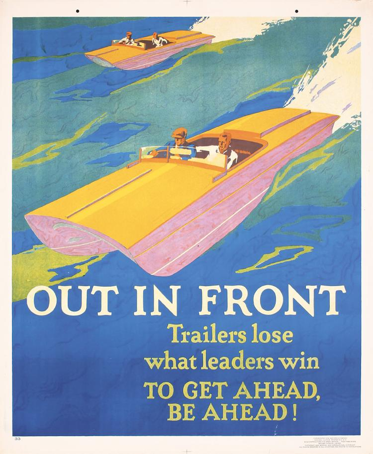Original Vintage 1929 Mather Work Incentive Poster Out In Front