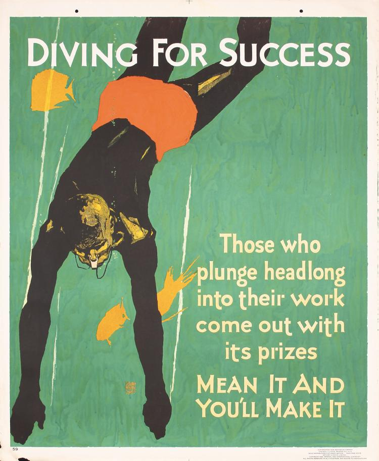 Original Vintage 1920s Mather Work Poster Chicago Diver