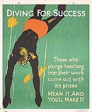 Original Vintage 1920s Mather Work Poster Chicago Diver