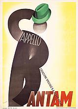 Original 1930s Italian Hat Poster BOCCASILE Art Bantam