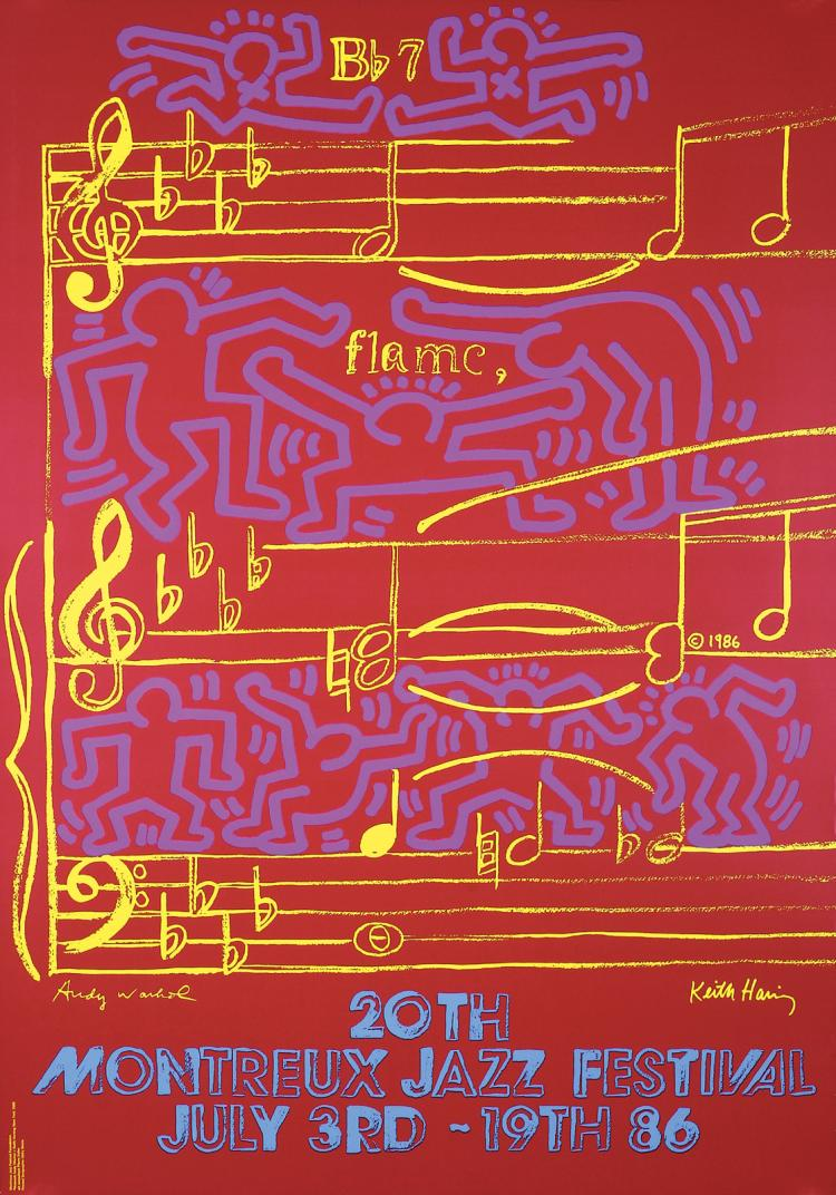 Original 1986 Montreux Jazz Poster HARING & WARHOL Art
