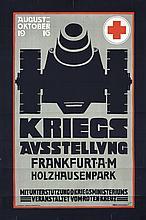 Great Original Vintage German WW I Poster RED CROSS WAR EXHIBIT