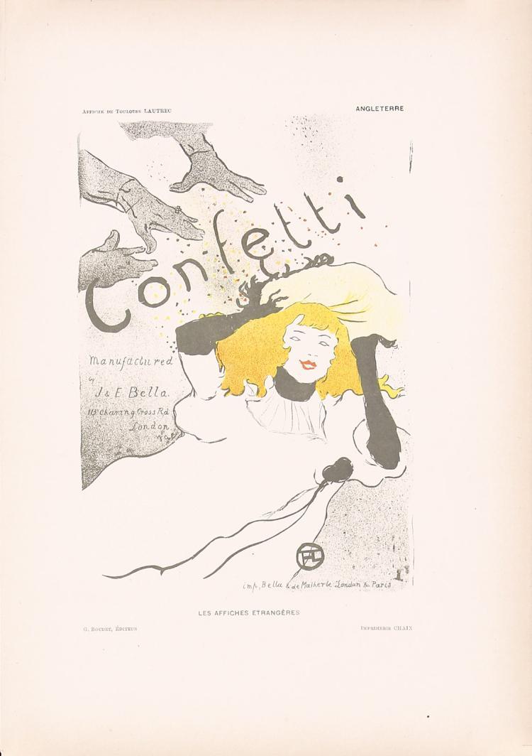 Original TOULOUSE-LAUTREC Confetti Print from Affiches Etrangeres