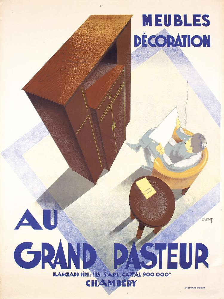 Original 1930s French Furniture Poster AU GRAND PASTEUR