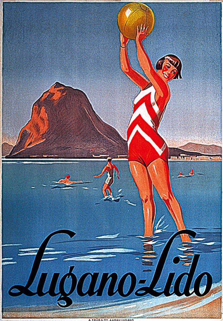 Stunning Original 1920s Lugano Lido Beach Travel Poster