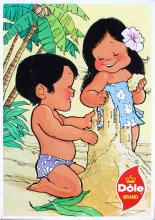 Old Original Dole Pineapple Poster Kids building Sandcastle