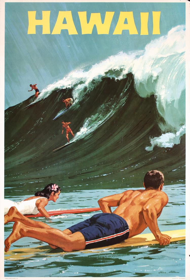 *** STUNNING Original Vintage 1960 Hawaii Surfing Travel Poster