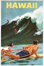 STUNNING Original Vintage 1960 Hawaii Surfing Travel Poster