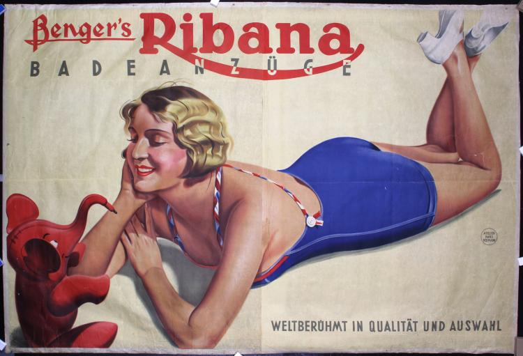 HUGE Original Vintage 1920s Ribana Bathing Suit Beach Poster