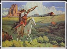 Old 1940s Santa Fe Meeting of the Chiefs Travel Poster