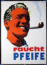 Original 1960 Swiss Design Pipe Tobacco Poster + 1 !