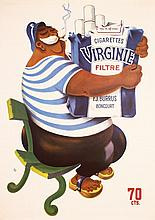 Old 1950 Swiss Design Virginia Cigarettes Poster Sailor