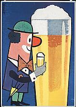 Funny Original 1950s German Beer Poster