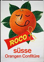 Funny Original 1960 Swiss Design Orange Poster Plakat