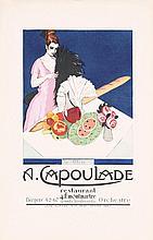 Beautiful Old Original French Paris Restaurant Poster