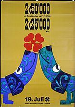 Original 1950s/60s Swiss Lottery Poster Plakat