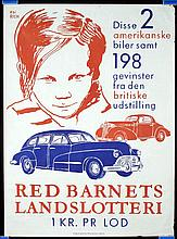 7 Original 1950s Danish Posters Lottery Red Barnet Auto