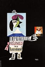 Old 1950s Swiss Design HERBERT LEUPIN Poster Plakat