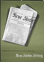 Original 1950s Swiss Zurich Newspaper Poster