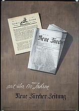 Old Original 1950s Swiss Newspaper Poster Zurich Daily