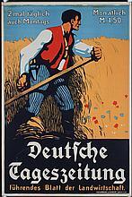 Old 1900s German Newspaper Advertising Poster Plakat