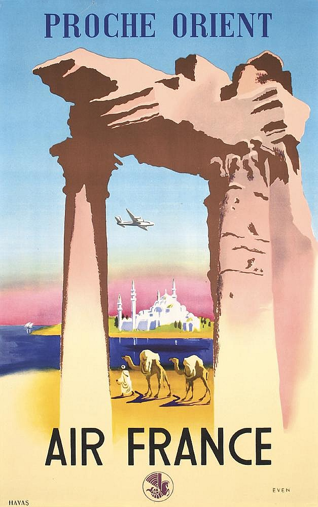 Original 1950 Air France Orient Airline Travel Poster