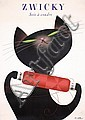 ORiginal 1940s Swiss Zwicky Cat Ad Poster BRUN Design, Donald Brun, Click for value